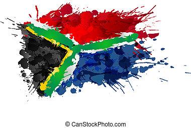 bandera sudafricana, hecho, de, colorido, salpicaduras
