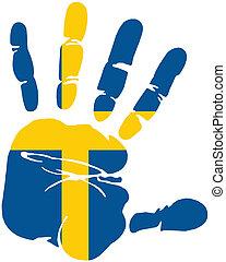 bandera suecia, handprint