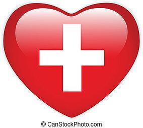 bandera suiza, corazón, brillante, botón