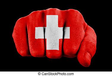 bandera suiza, puño