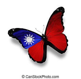 bandera taiwanesa, mariposa, aislado, blanco