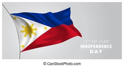 bandera, tarjeta, filipinas, saludo, ilustración, vector,...