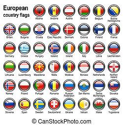 bandera, tela, botones
