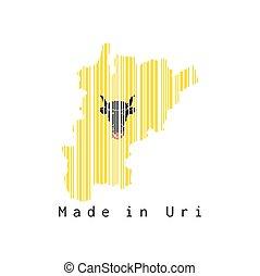 bandera, text:, uri, barcode, contorno, forma, conjunto, plano de fondo, color, blanco, hecho, mapa, uri.