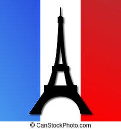 bandera, torre eiffel, francés