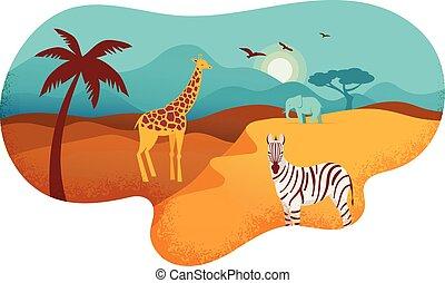 bandera, tribal, áfrica, animales, ilustración, símbolos, vector, safari