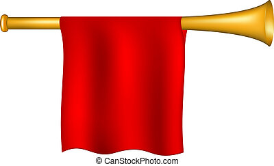 bandera, trompeta, rojo