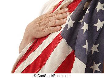 bandera, usa, ręka