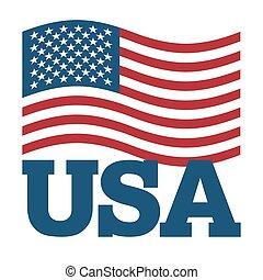 bandera, usa., rozwijanie, ameryka, bandera, na białym,...