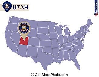 bandera utah, map., estado, estados unidos de américa