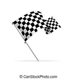 bandera, vector, carreras