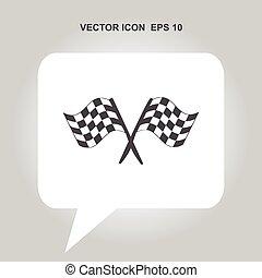 bandera, vector, carreras, icono