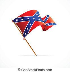 bandera, vector, confederado