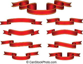 bandera, vector, conjunto, cinta roja