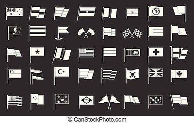 bandera, vector, conjunto, gris, icono