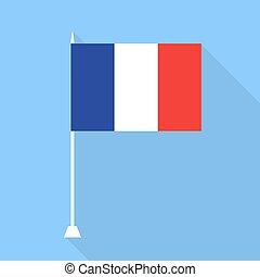 bandera, vector, france., illustration.