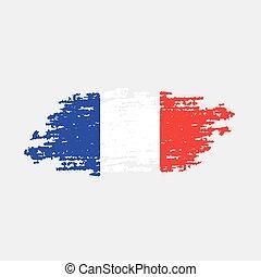 bandera, vector, france., ilustración