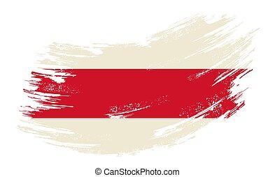 bandera, vector, illustration., belarusian, fondo., grunge, cepillo