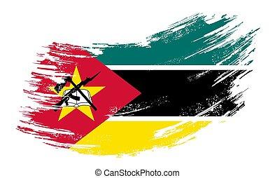bandera, vector, illustration., mozambique, fondo., grunge,...