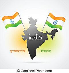 bandera, vector, indio