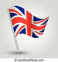 bandera, vector, inglés, ondulación, 3d