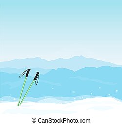 bandera, vector, silueta, invierno, canigou