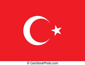 bandera, vector, turco, arte, rojo