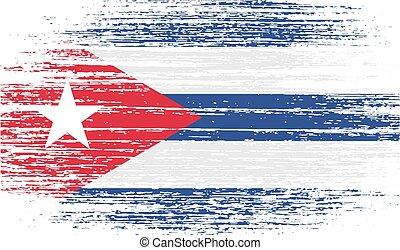 bandera, vector, viejo, texture., cuba