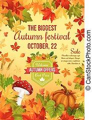 bandera, venta, otoño, diseño, otoño, feriado, cosecha
