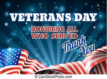 bandera, veteranos, norteamericano, plano de fondo, día