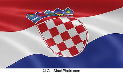bandera, viento, croata