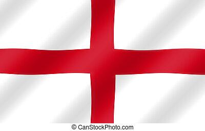 bandera, viento, soplar, inglés, st. george, illustration.