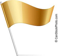 bandera, wektor, ilustracja, złoty
