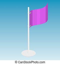 bandera, wektor, isometric, ilustracja