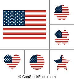 bandera, wektor, komplet, usa