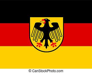bandera, wektor, niemcy, marynarka, herb