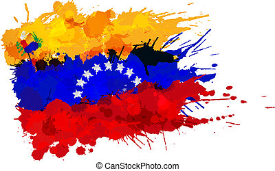 bandera, wenezuela, robiony, plamy, barwny
