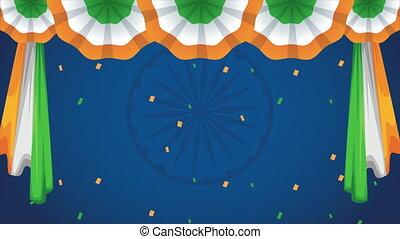 bandera, wisząc, niezależność, ozdoba, indie, dzień