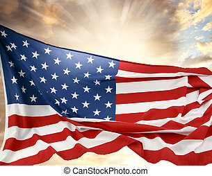 bandera, y, cielo