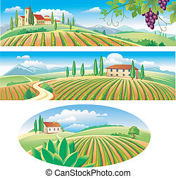 banderas, agricultura, paisaje
