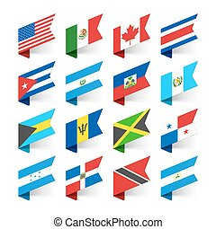 banderas, américa, norte, mundo