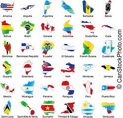 banderas americanas, en, mapa, forma, con, detalles