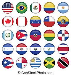 banderas americanas, redondo, iconos
