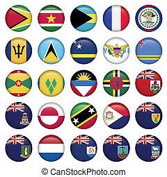 banderas americanas, suave, redondo, botones