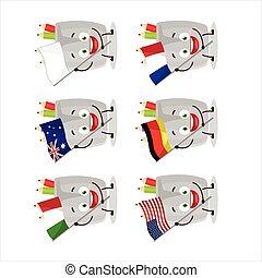 banderas, caricatura, vidrio, países, carácter, lápiz, vario, traer