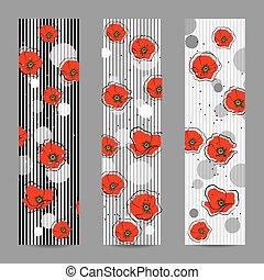 banderas, conjunto, flores, vertical