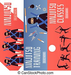 banderas, conjunto, horizontal, ninja, entrenamiento