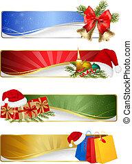 banderas, conjunto, invierno, navidad