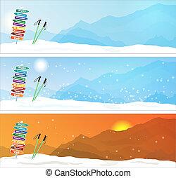 banderas, conjunto, viaje del esquí