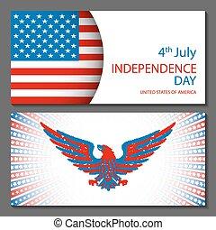 banderas, de, 4 julio, fondos, con, norteamericano, flag., día de independencia, mano, dibujado, bosquejo, diseño, vector